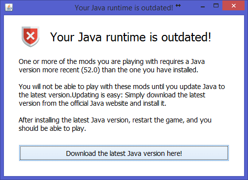 Java outdated screenshot